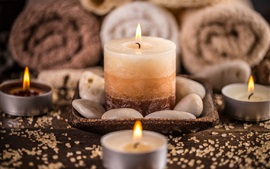 Preview wallpaper Candles, fire, flame, stones