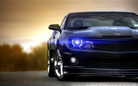 Preview wallpaper Chevrolet Camaro black car front view, angel eyes