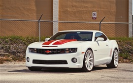 Preview wallpaper Chevrolet Camaro white car front view