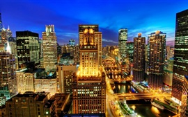 Preview wallpaper Chicago city night view, skyscrapers, lights, USA