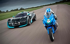 Preview wallpaper Citroen supercar and motorcycle speed