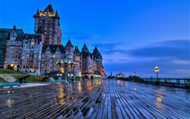 Preview wallpaper City, dusk, buildings, castle, lights, wet