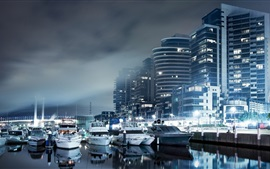 Preview wallpaper City night, houses, lights, boats, dock