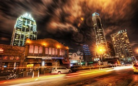 Preview wallpaper City night, street, road, traffic, cars, skyscrapers, lights