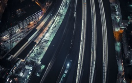 City night, top view, railroads