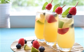 Preview wallpaper Cocktail, cold drinks, berries, glass cups