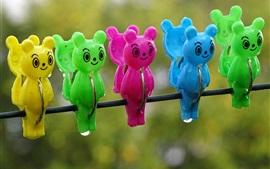 Preview wallpaper Colorful clothespins, bear, water drops