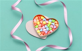 Colorful hearts candy, ribbon, gift