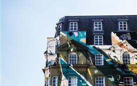 다채로운 벽, 건물, 주택