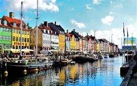 Copenhague, Dinamarca, río, barcos, casas