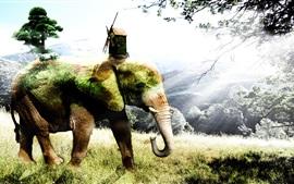 Творческая картина, слон, трава, деревья, хижина, ветряная мельница