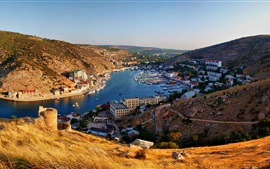 Preview wallpaper Crimea, Balaklava, mountains, river, boats, city