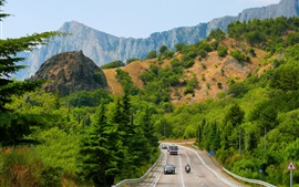 Preview wallpaper Crimea, trees, mountains, road