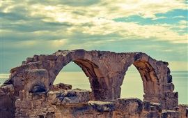 Preview wallpaper Cyprus, sea, curio, ruins, clouds