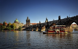 Preview wallpaper Czech Republic, city, river, bridge, boats, houses, Prague