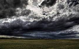 Preview wallpaper Dark clouds, storm will coming, fields