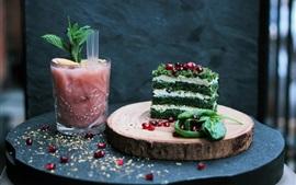 Dessert, cake, drinks