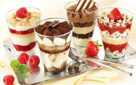 壁紙のプレビュー デザート、ガラスのカップ、層、クリーム、チョコレート