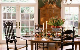 Preview wallpaper Dining room, table, dishes, flowers, candles