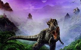 Imagem de arte de dinossauros, colmilhos, nevoeiro