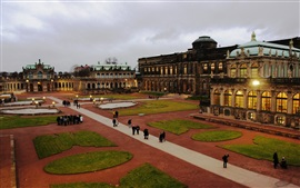 Preview wallpaper Dresden, Germany, old buildings, lawns, dusk