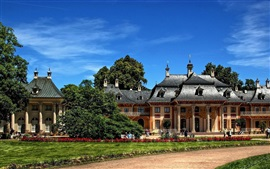 Preview wallpaper Dresden, Pillnitz Castle, trees, blue sky, Germany