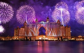 Dubai, city night, fireworks, water