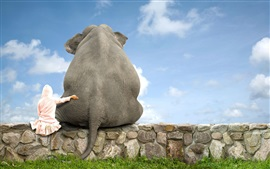 Preview wallpaper Elephant and girl, friends, back view