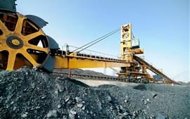 Ingeniería, transportadora, minería, máquina enorme