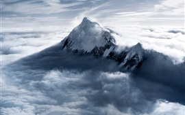 Everest Mountain at dusk, snow, clouds