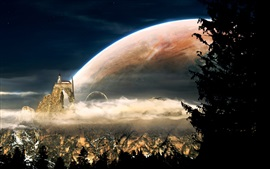 Preview wallpaper Fantasy world, mountains, castle, houses, planets, clouds