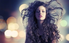 Preview wallpaper Fashion girl, hair flying, wind