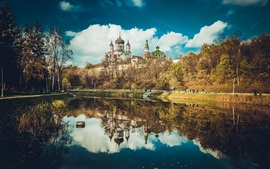 Preview wallpaper Feofania Park, Kiev, Ukraine, cathedral, lake, water reflection