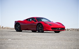 Preview wallpaper Ferrari 458 Italia red supercar side view, road, sky
