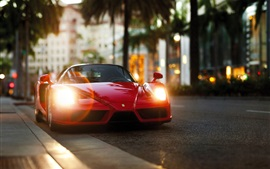 Preview wallpaper Ferrari Enzo red supercar front view, lights
