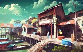 Рыбный порт, лодки, магазин, девушка аниме