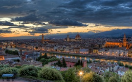 Preview wallpaper Florence, Italy, city, buildings, dusk, lights