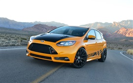 Preview wallpaper Ford Focus yellow car front view