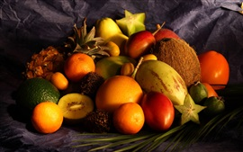 Fruit photography, coconut, pineapple, pear, tangerine, lime, kiwi