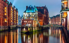 Preview wallpaper Germany, Hamburg, lights, bridge, houses, river, night