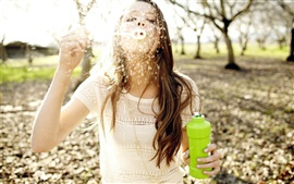 Preview wallpaper Girl play bubbles, mood