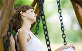 Preview wallpaper Girl rest on the swing