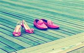 Calzado de niñas, estilo rosa, tabla de madera