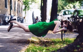 Preview wallpaper Green skirt girl float, photography