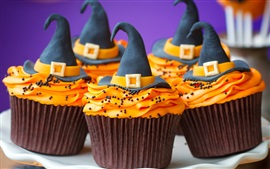 Preview wallpaper Halloween themed cakes, cream, hat