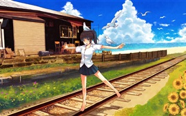 Aperçu fond d'écran Happy anime girl, railway, birds