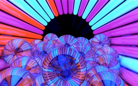 Preview wallpaper Hole, balls, colorful lines, 3D picture