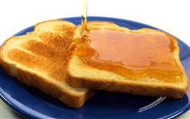 Honey, toasts, bread, food