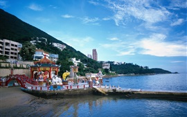 Preview wallpaper Hong Kong, city view, coast, village, sky, clouds