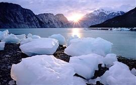 Ice cubes, snow, coast, sea, sunset, mountains